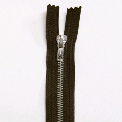 Fermeture Eclair métallique non séparable 20 cm Marron