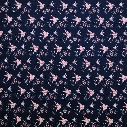 Tissu coton imprimé Oeko-Tex Origa Bleu marine