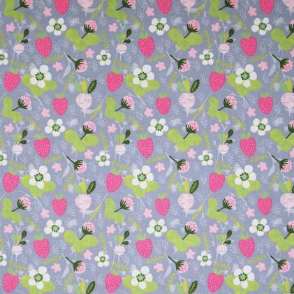 Tissu coton imprimé Oeko-Tex Strawberries Tree Gris