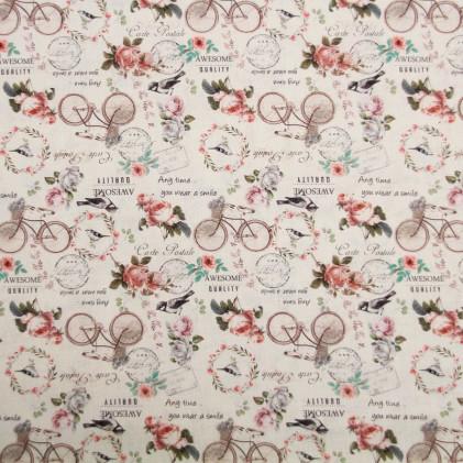 Tissu coton imprimé La Concorde Ecru
