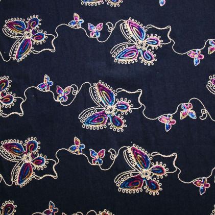 Tissu jean's brodé Butterfly