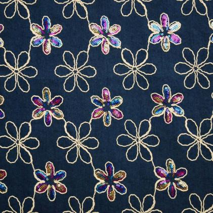 Tissu jean's brodé Floryn Bleu Jean's