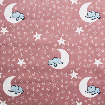 Tissu coton imprimé Clair de lune Rose