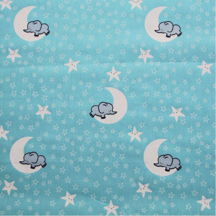 Tissu coton imprimé Clair de lune Turquoise