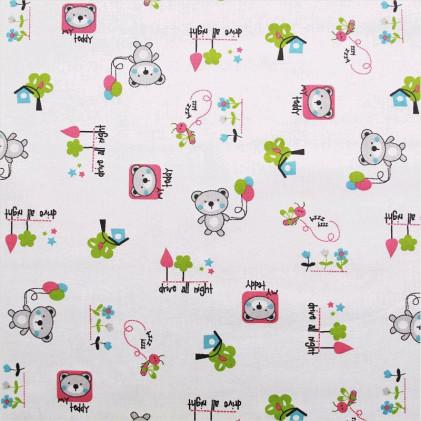 Tissu coton imprimé Bouba Rose / Vert