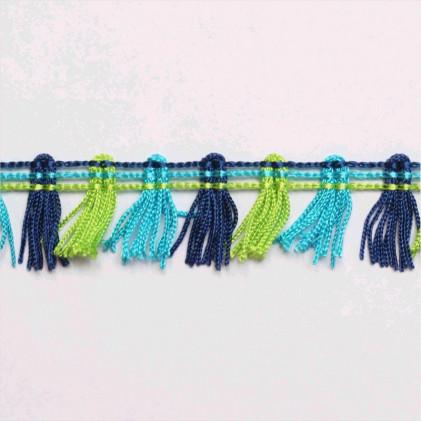 Galon pompons à franges 20 mm Bleu / Vert