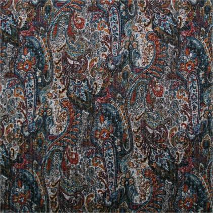 Tissu maille côtelée Cachy Bleu / gris/ orange