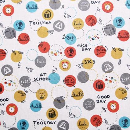 Tissu coton imprimé At School Blanc