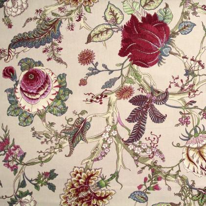 Tissu fleurs Ceylan Beige