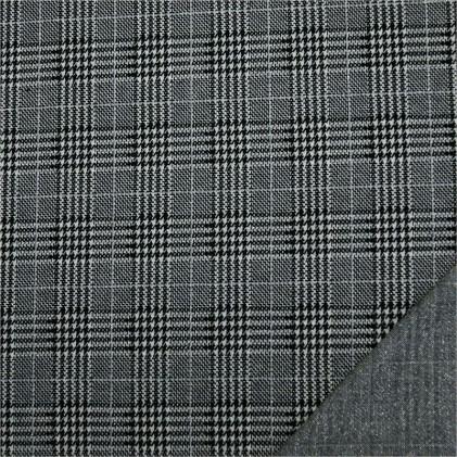 Tissu jersey effet maille lurex Prince de Galles Gris / Argent