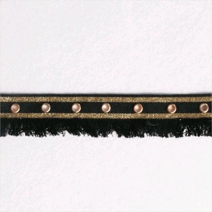 Galon à franges avec oeillets Noir