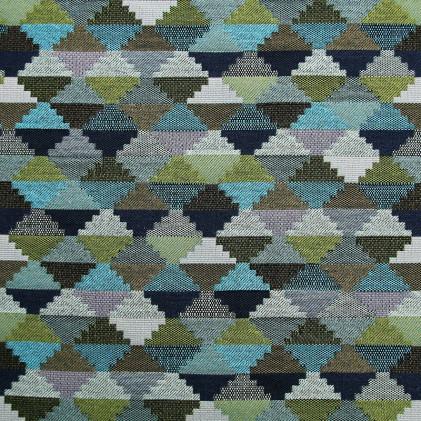 Tissu jacquard THEVENON Tino Vert / Bleu