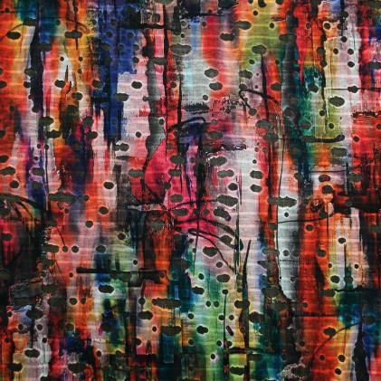 Tissu imprimé et ajouré Ligni Noir / Multicolore