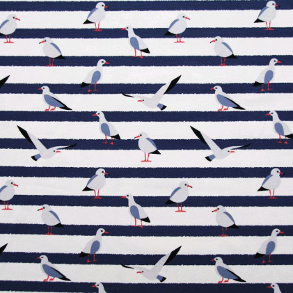 Tissu jerse  y à rayures Mouettes Blanc / Bleu