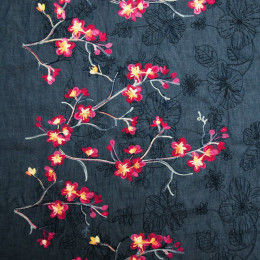 Tissu jean's brodé Cerisier