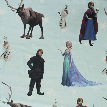 Tissu enfant La Reine des Neiges Bleu ciel
