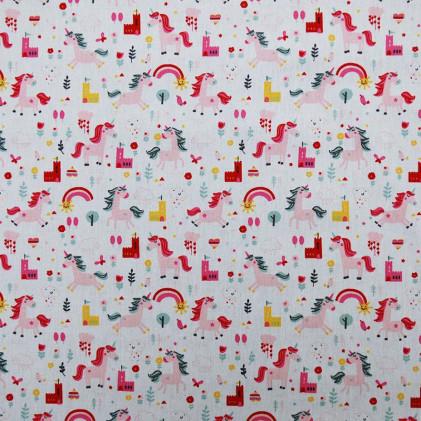 Tissu coton Oeko-Tex imprimé Licorne Blanc