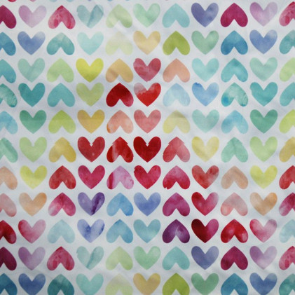 Tissu Pul imprimé PANDALOVEFABRICS Coeurs Pastel