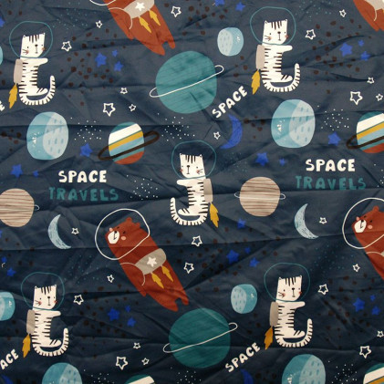 Tissu Pul PANDALOVEFABRICS  imprimé Space Travels Bleu marine