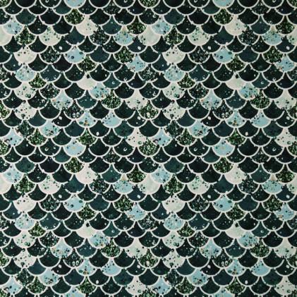 Tissu lycra PANDALOVEFABRICS Ecailles Glitter Bleu