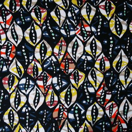 Tissu coton Oeko-Tex imprimé Waxcaf Noir