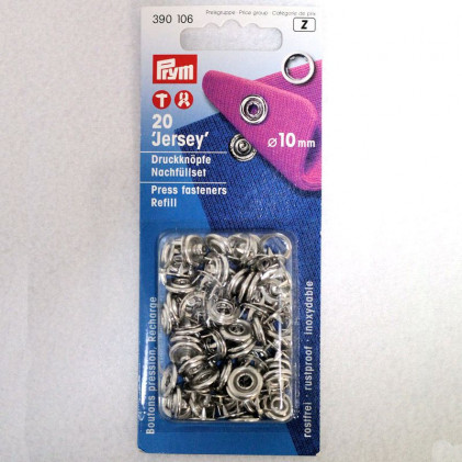 Recharge boutons pression jersey 10 mm Gris argent