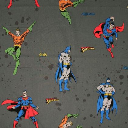 Tissu enfant Super Héros Gris