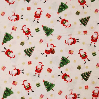 Tissu patchwork Noël Santa Ecru