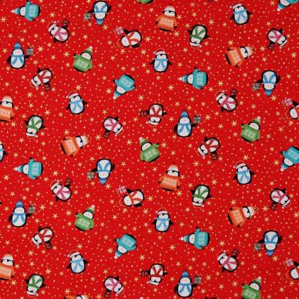Tissu patchwork Noël Pingouins