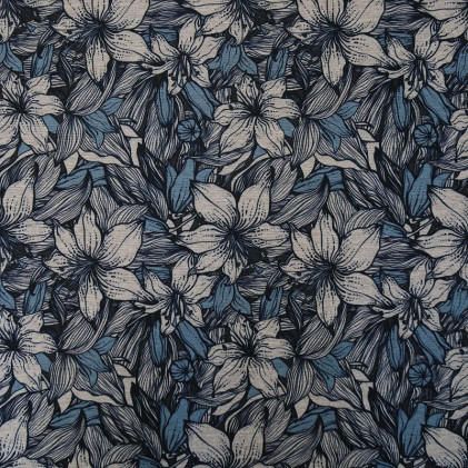 Tissu jersey milano imprimé BlueFlower Gris / Bleu