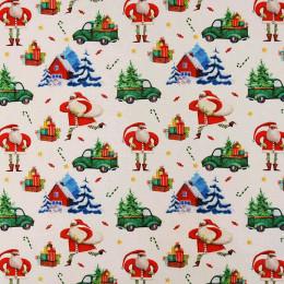Tissu coton Noël BIO Voiture