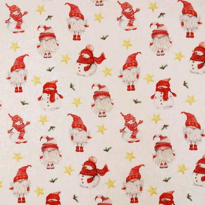Tissu coton Noël BIO Trolls Blanc