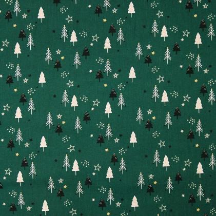 Tissu coton Noël Sapin glitter Vert