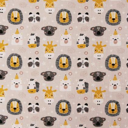 Tissu coton Oeko-Tex imprimé Polisson Ecru / Jaune