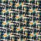 Tissu faux lin Oeko-Tex imprimé Camoufly Bleu