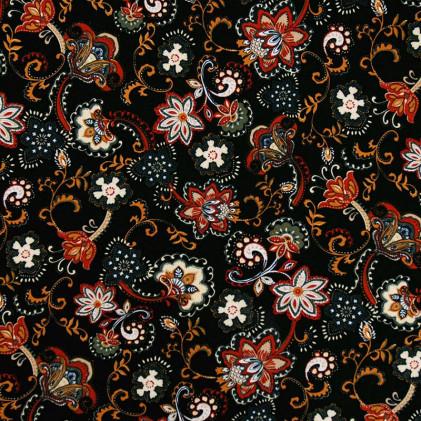 Tissu jersey imprimé Flory Noir