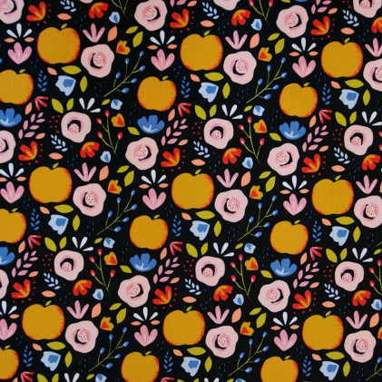 Tissu coton Oeko-Tex imprimé Pomme Noir