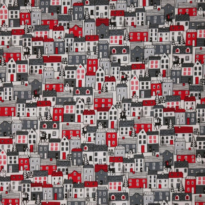 Tissu patchwork Noël Scandi Houses Gris / Rouge