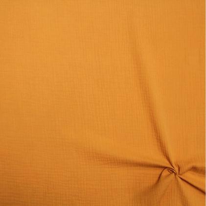 Tissu double gaze de coton uni Oeko-Tex Tamy Ocre