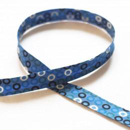 Biais fantaisie Cercles Bleu
