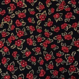 Tissu imprimé Fleurs Glitter Noir
