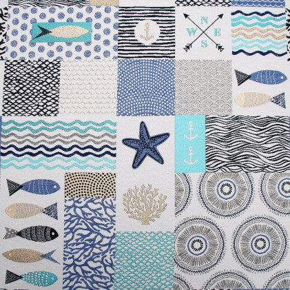 Tissu jacquard Sea Bleu / Blanc