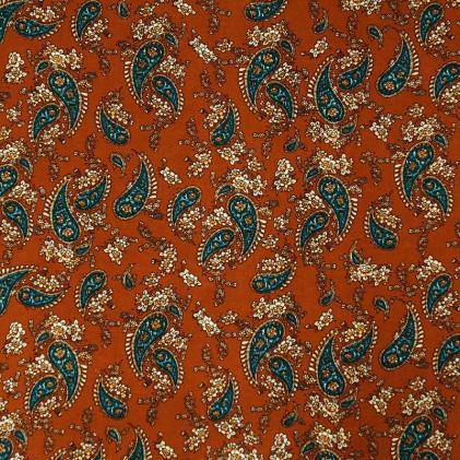 Tissu imprimé Cachemire Fleuri Camel