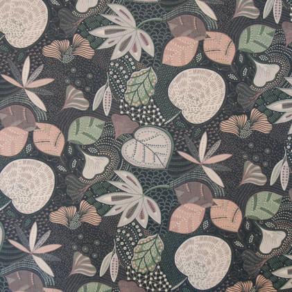 Tissu coton Oeko-Tex Zoumba Noir / Rose