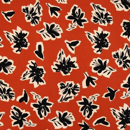 Tissu viscose imprimé Patchus Terracotta