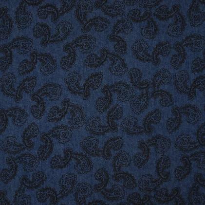 Tissu jean's imprimé Cachemire Bleu jeans