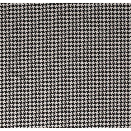 Tissu polyester élasthanne Pied de poule Blanc / Noir