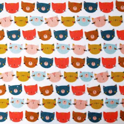 Tissu velours éponge imprimé Chat Multicolore